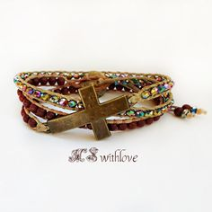 Bronze cross bracelet beaded wrap bracelet bohemian by MSwithlove
