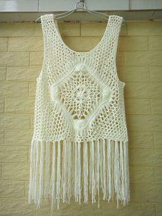 Hippie Long Fringe Crochet Vest Beach Cover Up Music Festival Top