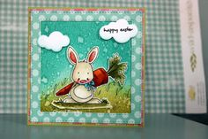 handmade Easter card from Cottage Creations ... luv the adorable bunny with a big carrot ... framed look with wide mat ... die cut clouds popped up in the sky  are perfect for the sentiment in this scene ...