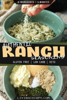 A ranch seasoning recipe that tastes like the real deal. Only 6 ingredients (plus salt and pepper) and 5 minutes max! Make your own authentic taste ranch seasoning powder. Gluten-Free. Low-Carb. Keto. Paleo Keto Recipes, Healthy Muffin Recipes, Banting Recipes, Healthy Muffins, Sugar Free Recipes, Whole Food Recipes, Diabetic Recipes, Yummy Recipes, Diet Recipes