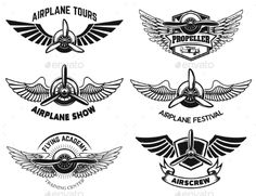 Buy Set of Airplane Show Labels. Emblems with Wings by Kotliar on GraphicRiver. Set of airplane show labels. Emblems with wings and propellers. Aviation Tattoo, Aviation Logo, Aviation Humor, Background Design Vector, Vector Design, Pilot Tattoo, Wing Tattoo Men, Nouveau Tattoo, Airplane Tattoos