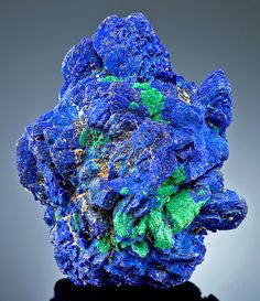 Azurite and Malachite   --  From the Rancho Santa Rosa Mine, Concepción del Oro, Mun. de Concepción del Oro, Zacatecas, Mexico.