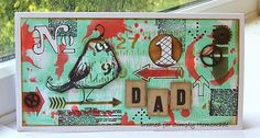 Framed Father's Day project by @kathinwesthill featuring Tim Holtz Distress Cracked Pistachio & Abandoned Carol ❤️ #TimHoltzDistress #FathersDayCrafts