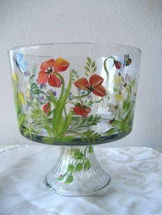 Tazón de vidrio bagatela con patrón de flores silvestres, artículos para el hogar, hogar y jardín, cocina pintados a mano. .
