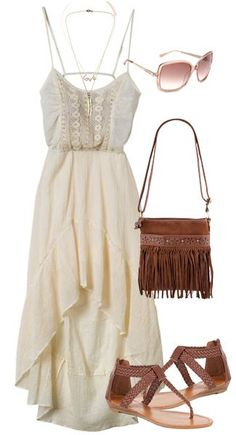 I love this look for summer. Pretty cream colored dress paired with a boho style purse.