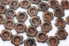 10 Dark Brown Flower Shape Wood Button by boysenberryaccessory
