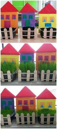 New garden crafts preschool plants ideas - Vine Ideas Kids Crafts, Daycare Crafts, Hobbies And Crafts, Easter Crafts, Diy And Crafts, Art N Craft, Garden Crafts, Spring Crafts, Preschool Crafts