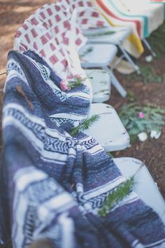 cozy outdoor wedding seating // photo by Evynn LeValley Photography // View more: http://ruffledblog.com/bohemian-big-sur-wedding/