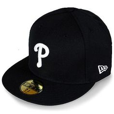 New Era Philadelphia Phillies Fitted Hat NEA-PHIBLAW Black Cap Mens Size 8
