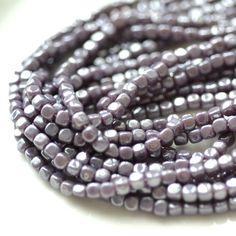 Medium Lavender Pearl 4mm Cube Czech Glass Beads