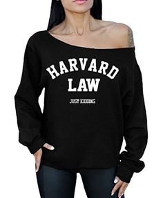 Harvard Law Just Kidding Off the Shoulder Oversized Sweatshirt University Humor M Black >>> Find out more about the great product at the image link.