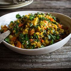 Paella is a Valencian rice dish that is traditionally cooked in a very large pan over an open fire fueled by orange and pine branches. According to legend, this infuses the rice with the smoke. Paella also uses lots of meat and seafood. Neither of these is very practical for many... #rice #vegan