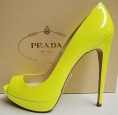 PRADA Yellow Neon Patent Leather Peep Toe Platform Pumps Heel Shoes 38