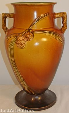 Roseville Pottery Pine Cone Brown Vase 713-14 from Just Art Pottery