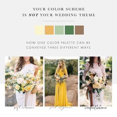 Are you describing your wedding day vision purely in color palette? It takes so much more. Look at these 3 completely different looks using a single color scheme: pale yellow, golden mustard, sage grey, emerald green, and bronzy copper. Mustard Wedding Colors, Yellow Wedding Colors, Yellow Wedding Dress, Summer Wedding Colors, Charcoal Wedding, Sage Wedding, Maroon Wedding, Mustard Bridesmaid Dresses, Bridesmaid Dress Colors