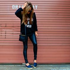 Coco & Yves sweatshirt paired with faux leather leggings and Chanel espadrilles. Pairing cozy with style creates an outfit worth blogging about. :) http://lovesarahmarie.com/2014/07/02/coco-yves/