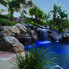 Lagoon pool side view of grotto water feature