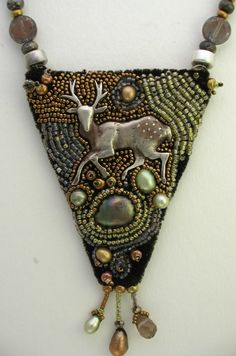 Bead Embroidered Necklace - website of unusual beading from all places & times