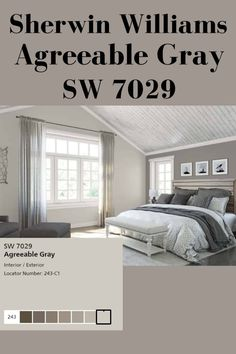 Sherwin Williams Agreeable Gray SW 7029 is one of the most popular gray/greige p. Sherwin Williams Agreeable Gray SW 7029 is one of the most popular gray/greige paint colors available. Find out what makes Agreeable Gray the best warm gray paint color. Warm Paint Colors, Warm Gray Paint, Best Gray Paint Color, Greige Paint Colors, Paint Colors For Living Room, Paint Colors For Home, Living Room Grey, Gray Color, Neutral Paint