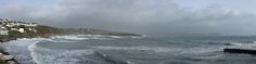 Panoramic: Windy Waves at Low Tide at Portscatho's Harbour