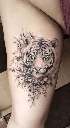 That tattoo is amazing! Need some ideas for animal tattoos? Check out our collection realistic animal tattoo posts now That tattoo is amazing! Need some ideas for animal tattoos? Check out our collection realistic animal tattoo posts now. Tiger Tattoo Small, Tatoo Tiger, Tiger Tattoo Thigh, Tiger Tattoo Sleeve, Tribal Tiger Tattoo, Tiger Tattoo Meaning, Tattoo Girls, Girls With Sleeve Tattoos, Girl Tattoos