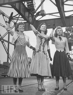Betty Garrett, Ann Miller & Vera Ellen in On The Town (1949). #vintage #1940s #actresses #movies #fashion