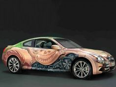 The Infiniti Coupe Anniversary Art Car will be on tour at various Cirque du Soleil shows and other events over the coming months. Infiniti G37, American Graffiti, Weird Cars, Canadian Art, Automotive News, Car Painting, Paint Schemes, Car Wrap, Car Pictures