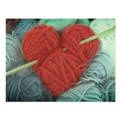 Cute red wool heart with knitting needle postcard - postcard post card postcards unique diy cyo customize personalize