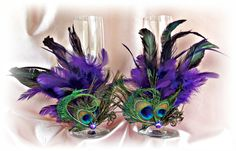 Peacock Feathers Champagne Glasses -  Wedding Table Settings -  Stemware Decoration Glasses - Purple Teal Peacock Wedding Decor on Etsy, $45.00