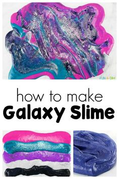 Step by step directions for how to make galaxy slime! Love that there are suggestions for making adaptations to make your own version of galaxy slime. Sensory Activities Toddlers, Infant Activities, Sensory Play, Space Activities, Science Activities, Clear Glue Slime, Galaxy Slime, Easy Slime Recipe, Slime For Kids