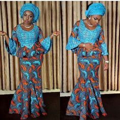 Latest Ankara Skirt And blouse Styles 2018 : Simple Styles with Lace - DeZango Fashion Zone