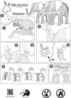 Elephant Frank Junior cardboard figure 3D Puzzle DIY Kit