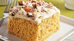 Betty Crocker® cake mix and bacon cream cheese frosting come together in this sweet potato cake – a delicious dessert treat for your guests.