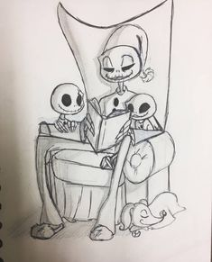 So let's start inktober day 20 with papa skellington and his two oldest boys, Vincent (left) and Edgar (right, in the chair) readin. Cute Disney Drawings, Cute Cartoon Drawings, Art Drawings, Corpse Bride Art, Disney Character Sketches, Nightmare Before Christmas Drawings, Tim Burton Art, Cute Fantasy Creatures, Hipster Wallpaper