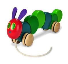 Love this, read them the book then they can play with the toy! The World of Eric Carle The Very Hungry Caterpillar Wood Pull Toy by Kids Preferred. Caterpillar Toys, Hungry Caterpillar Party, Toddler Toys, Baby Toys, Toys For 1 Year Old, Pull Toy, Eric Carle, Chenille, Baby First Birthday