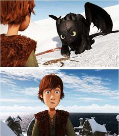 Toothless and Hiccup. Always cry at this part. I just love how Toothless would rather rely on Hiccup instead of gaining his freedom back. They complete eachother