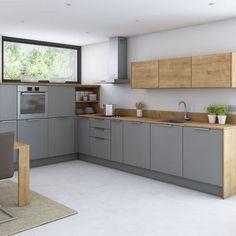 Cucina grigia e legno, Ikea veddinge