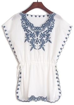 Floral Embroidery Bat Sleeve  Blouse