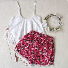 P.S. I Love You More Boutique | Floral Pom Pom Shorts | Summer Fashion 2014 www.psiloveyoumoreboutique.com