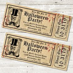 Halloween Party Ticket Invitations, Realistic Halloween Birthday Party Ticket Invitations, Halloween Party Invitations photo ideas from Amazing Party Invitation Ideas Halloween Circus, Halloween Labels, Adult Halloween Party, Halloween Party Invitations, Halloween Party Decor, Scary Halloween, Halloween Ideas, Wedding Invitations, Halloween Pictures