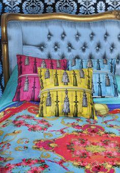 Bedding and Cushions from Design House Paradis Maison #designercushions #tassels #pinkdecor #pinkyellowdecor #yellowturquoisedecor #turquoisedecor
