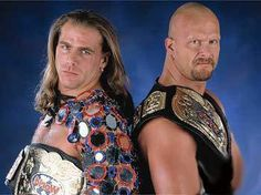 """WWF Tag Team Champions """"Stone Cold"""" Steve Austin and Shawn Michaels"""
