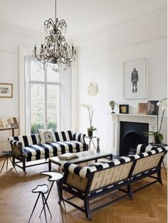 from T magazine...A 19th-century London town house gets a modern update, with rooms that are emphatically personal. A report by Pilar Viladas - I love stripes