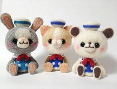 Cute Needle felting project wool cute animals cat bunny bear (Via @hananeko_youmou)
