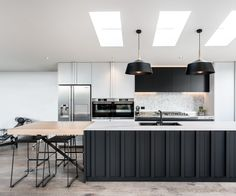 This Westmere kitchen blends industrial style with sleek design