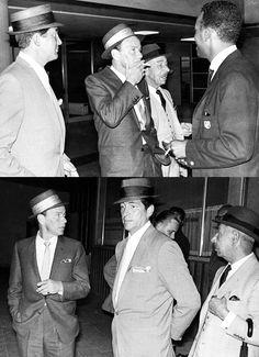 Frank Sinatra and Dean Martin at Heathrow Airport, 1961