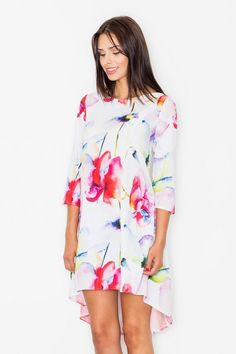 Take a look at this FIGL White Floral Hi-Low Dress today! Hi Low Dresses, Cute Dresses, Summer Dresses, Barcelona Outfit, Mens Designer Brands, Online Fashion Stores, Unique Fashion, Your Style, Cold Shoulder Dress