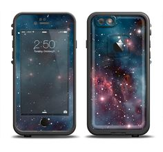 The Bright Pink Nebula Space Apple iPhone 6/6s Plus LifeProof Fre Case Skin Set from DesignSkinz