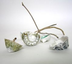 Helen Earl, Midden Spoons, porcelain and driftwood,