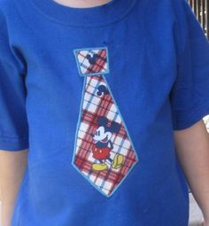 Mickey Mouse Tie Appliqued Toddler T Shirt   sockmonkeyshop - Clothing on ArtFire